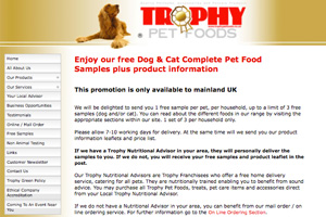 Free Trophy Pet Foods Cat Food Sample